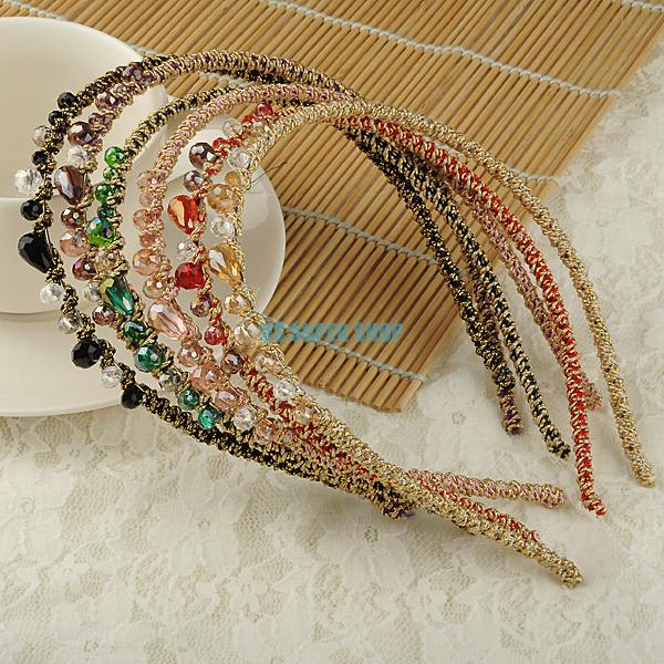 Korea Style Colorful Irregular Crystal Beads Gold Wire Hairband Headband Hoop Accessories ES3051(China (Mainland))
