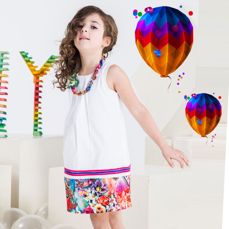 Girls Dresses Summer 2016 New Baby Gilr Print Dress Kids Princess Necklace Dress for Girl Evening Dresses Costumes(China (Mainland))