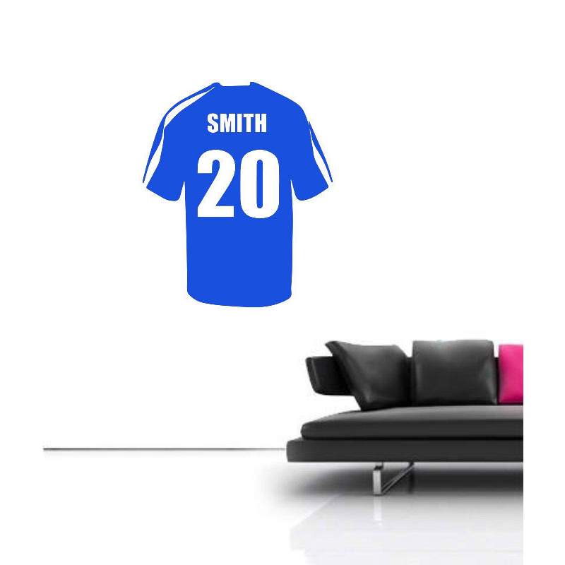 Name Personalized Football Soccer Shirt Wall Art Children Kids Sticker Decal Removable Vinyl Transfer Stencil BedRoom Decor(China (Mainland))