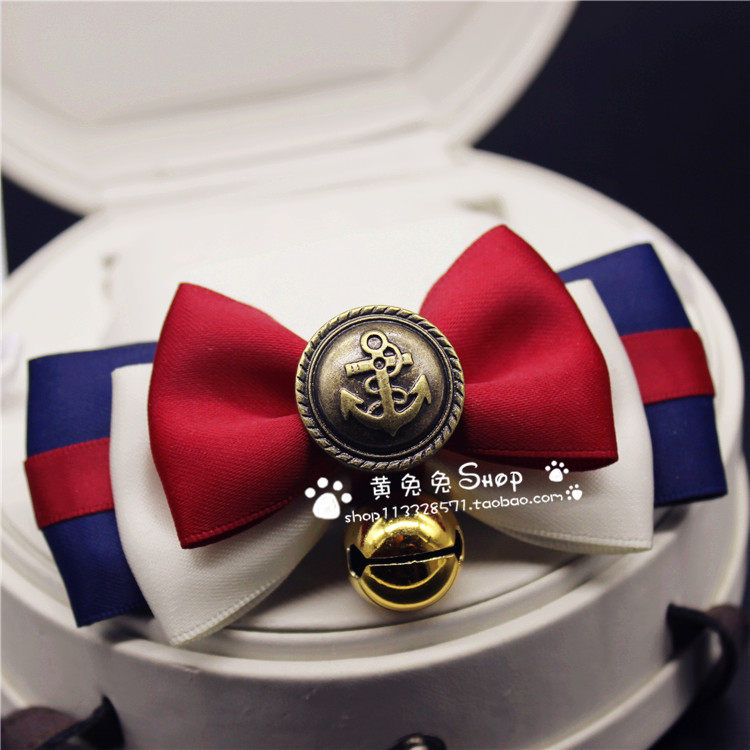 2016 new fashion Bell Teddy cat bowtie bows pet accessories hand-square jewelry Bell tone retro Royal lace dog pet collares(China (Mainland))