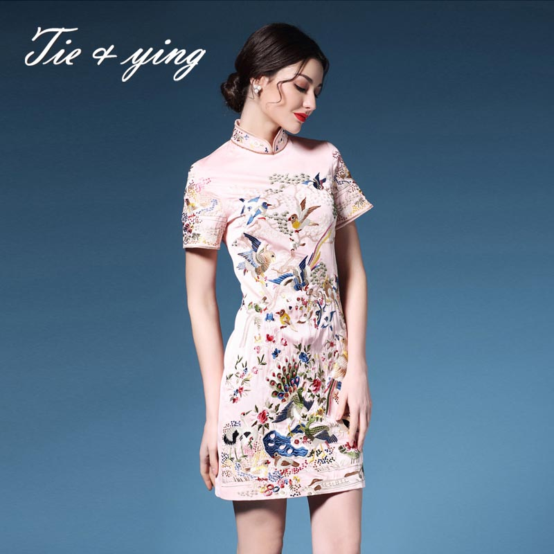 Women summer floral dress cheongsam 2016 Chinese style elegant plus size royal embroidery birds silk Qipao dress vintage S-3XL(China (Mainland))