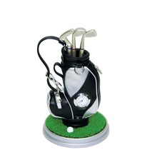 Creative Perfact Golf Present Golf Pen Holder Golf Bag three Ballpoints and clock 7 colors available(China (Mainland))