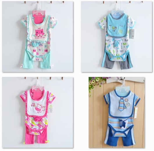 Hot Sale Baby Gaer Girls Suits Cartoon Pattern Short Sleeve Bodysuit,Pants,Bib and Socks 100% Cotton Top Quality LS95<br><br>Aliexpress