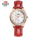 NARY New Rhinestones clocks Fashion Style Leather Casual Bracelet Watch Women Dress Watches Long Quartz Watch