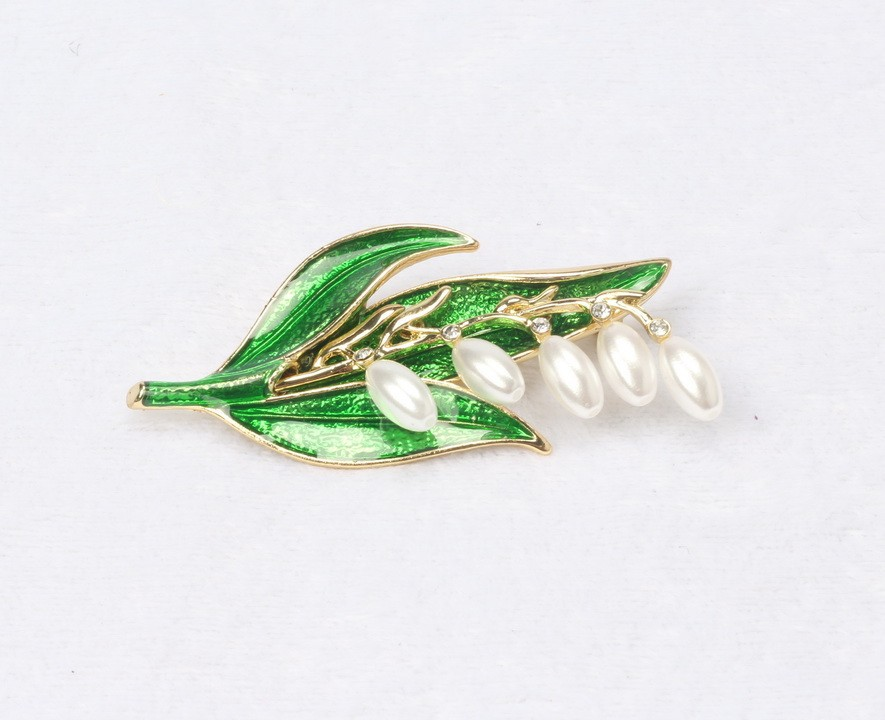 2016 women pins brooches leaf leaves Pearl Brand wedding epoxy brooch - Thousand Sunshine store