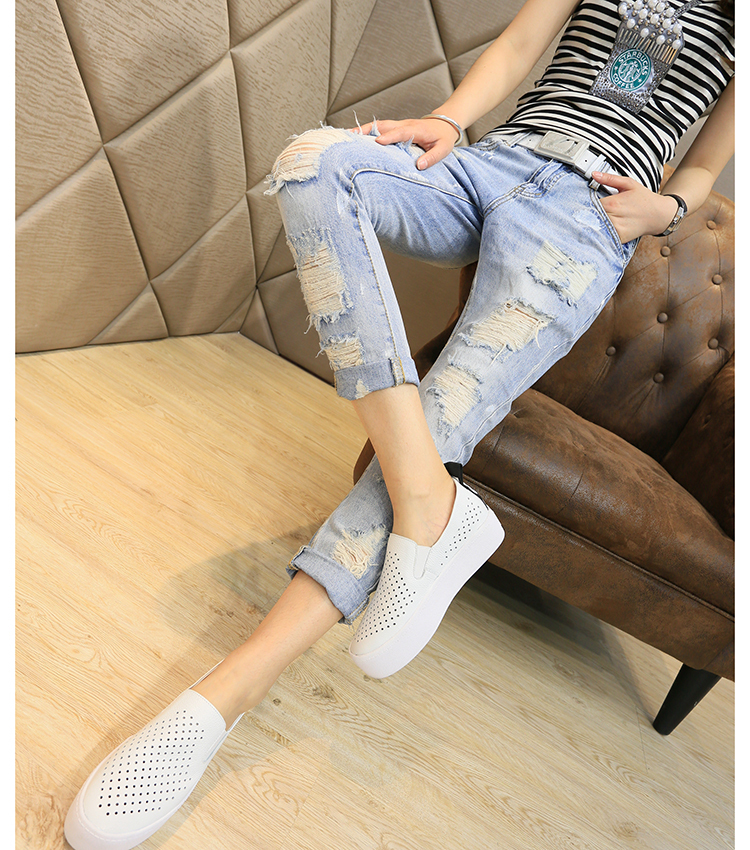 Free fast shipping Harajuku women's loose casual hole ankle length jeans plus size street personality harem pants(China (Mainland))