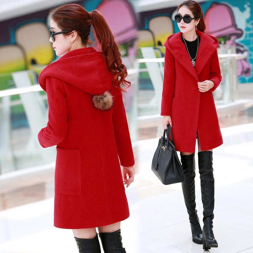 Hot Sale Women Lapel Woolen Coat Winter 2015 New Fashion Europe Winter Women Hooded Long Section Plus Size Thin Woolen Coat