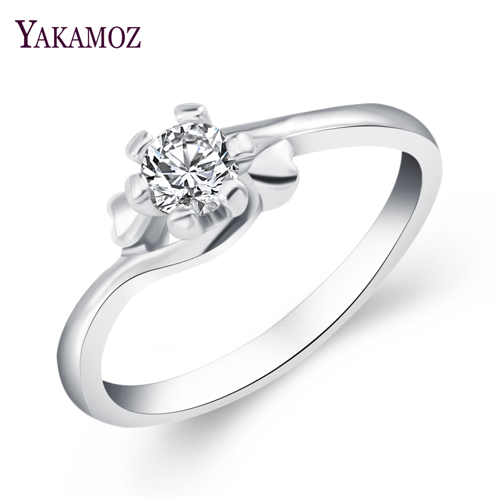 2017New Brand Enagement White Gold Color Jewelry Unique Shaped Inlay Cubic Zirconia Ring for Women Party(China (Mainland))