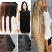 """Free Shipping 26"""" 66 cm Straight Clip in Hair Extensions One Piece 5Clips Straight 10 colors 100% Real Good(China (Mainland))"""