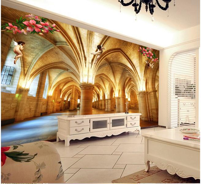 New large wallpaper custom wallpaper marble pillar 3d for Custom wall mural from photo