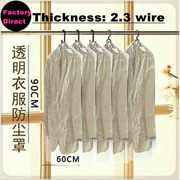 Free shipping New 10PCS/Lot dust cover suit bag garment bags clear color for prevent dust(China (Mainland))