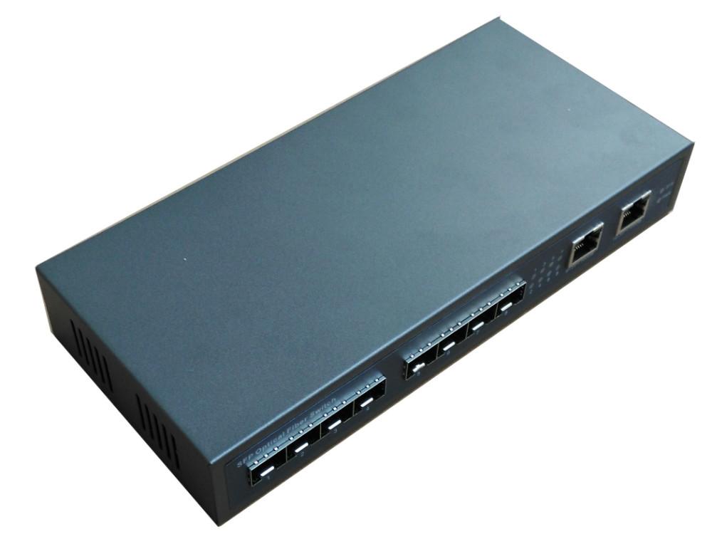 New model 10 ports full gigabit fiber Ethernet with 8*GIGA SFP slot and 2*10/100/1000M TX free shipping(China (Mainland))
