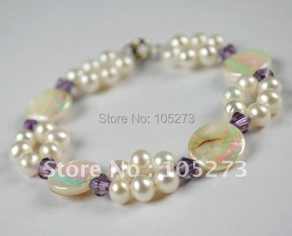 Classic Pearl Jewelry AA 4MM-20MM White Natural Freshwater Pearl + Shell + crystal 7.5inch Elastic Bracelet New Free Shipping<br><br>Aliexpress