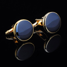 High Quality Hot Sale Two designs Brass Stamping Mens Fashion Black Round Cufflinks Free Shipping JSB031