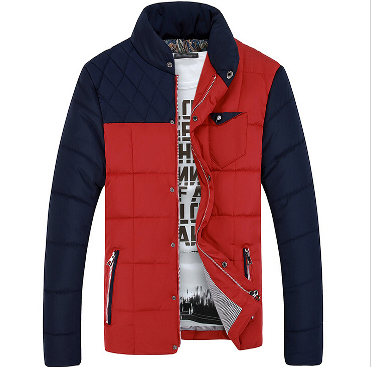 New plug color coat collar winter clothes Men s new fashion cotton Slim hooded padded jacket