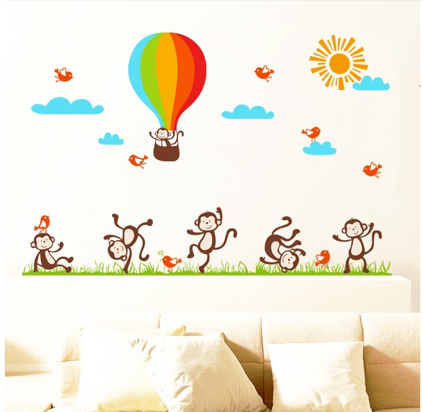 Cute monkey animal wall stickers home decor wall art for Poster decoratif