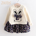 Autumn Cartoon Cute Bunny Rabbit Dress Floral Bow Long Sleeve Girl Dresses Cotton Patchwork Girls Clothing