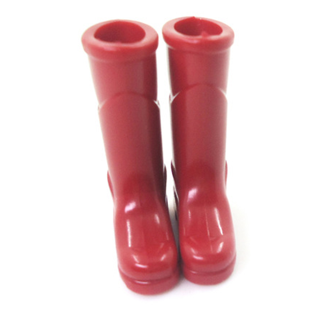 1:12th Red Rubber Rain Boots High Boots Rural Style Garden Porch Dollhouse Miniature Shoes Accessories