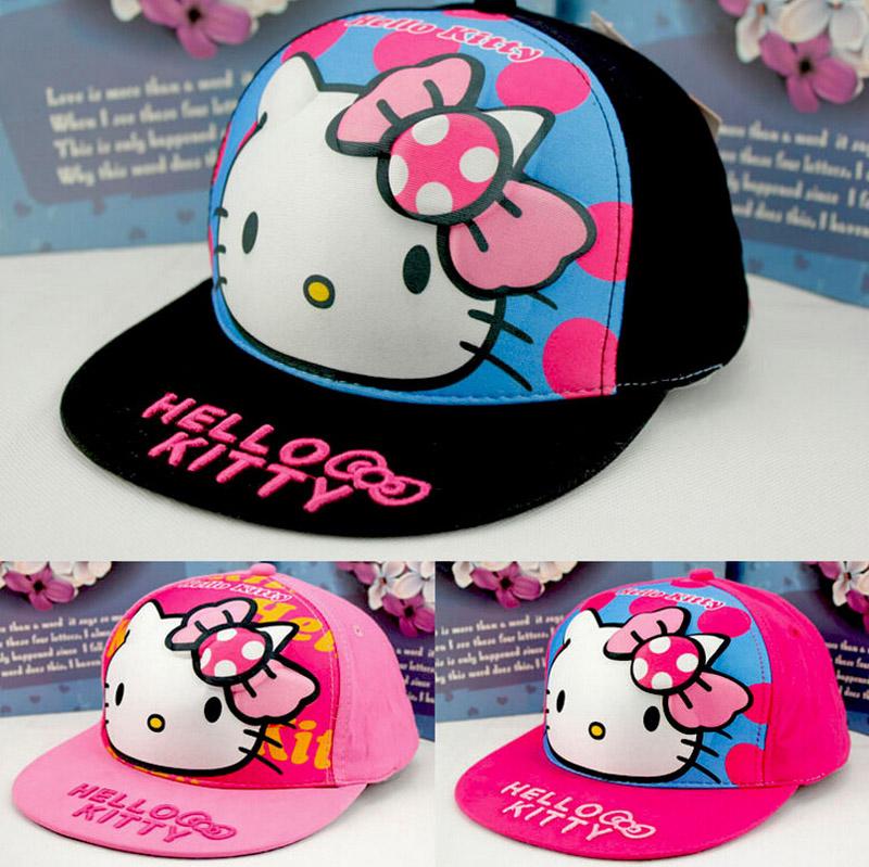 2015 New Kids Baseball Caps cartoon Hello Kitty 100% Cotton Hip Hop Cap Baby Boys Girls Peaked cap(China (Mainland))