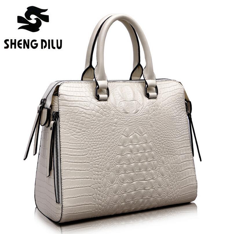 2015 Summer Style Genuine Leather Embossed Crocodile Grain Women Bag Brand Designer Handbag Real Cowhide Messenger Bag Hot Sale