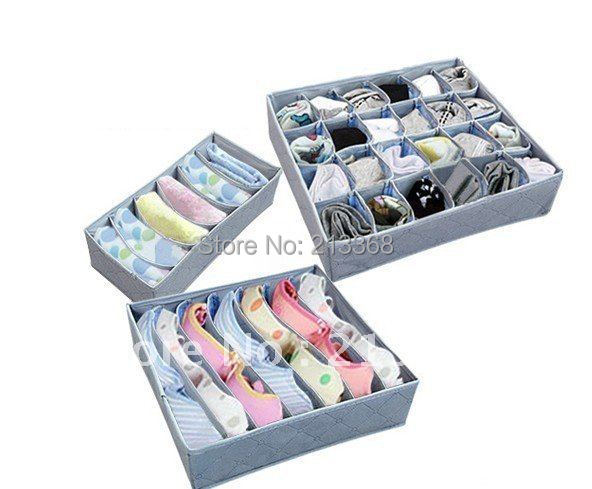 Free shipping 3 pieces a set,foldable box /Bamboo Charcoal fibre Storage Box for bra,underwear,necktie,socks#8650(China (Mainland))