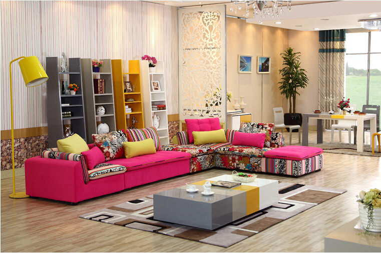 U-BEST high quality sectional sofa pink fabric 6 seat sofa compenhagen,Sectional Sofa Set Sofa Reversible Chaise(China (Mainland))