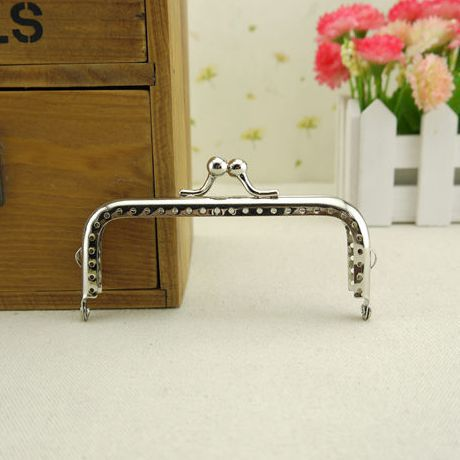 Track Ship + 20pcs/lot DIY 10.5cm Glossy Silver Metal Purse Frame Handle for Bag Sewing Craft Tailor Sewer,Freeshipping(China (Mainland))
