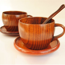 Zakka Wood cup Coffee Cups and Mugs Wooden cup set With Spoon andTray Tea cup Tazas Cafe Mug