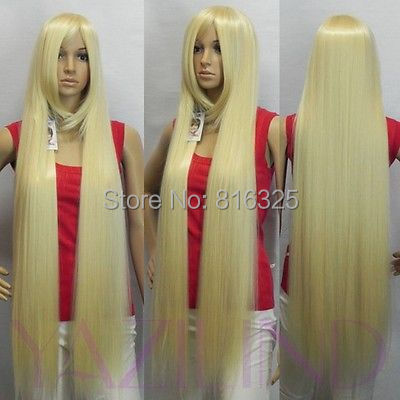 DM305> Rapunzel Tangled light blonde straight long blue synthetic cosplay wig - shops58 store