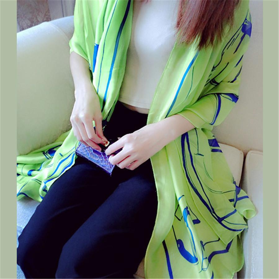 Fashion New Style Spring Summer Chiffon Big Size Women Scarves Green/Rose/ Orange Holiday Beach Silk-like Cover Ups Women Shawl(China (Mainland))