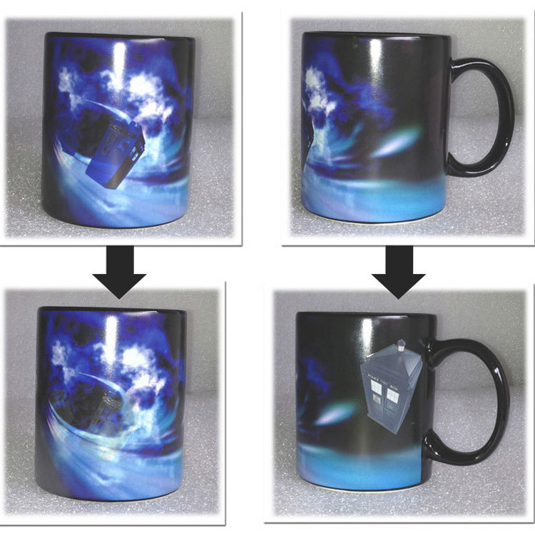 New Doctor Who Disappearing tardis police box Heat Changing Coffee mug Magic Cup 50 years of adventures Mug Dr Mysterious 529(China (Mainland))