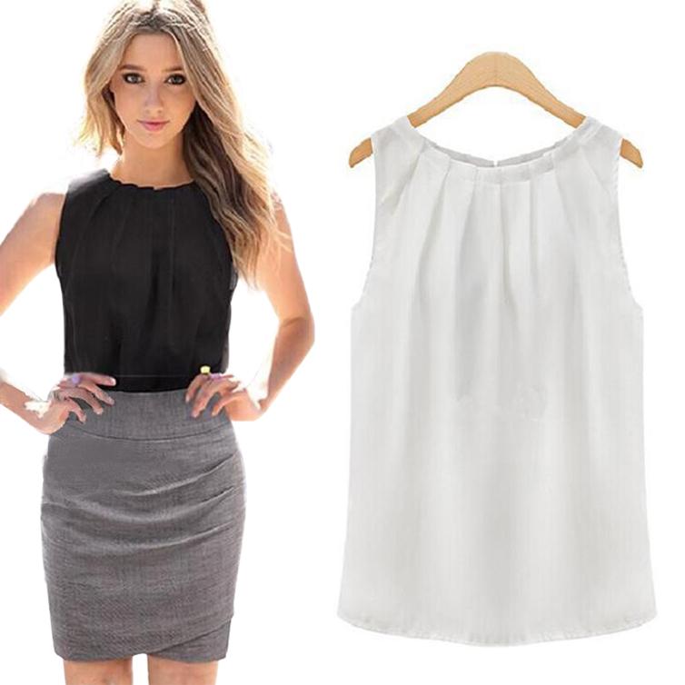 Women Blouses Roupas Femininas 2016 Tropical Sexy Fold Sleeveless Chiffon Plus Size Ladies Blouses Casual Tops Clothing S-XL(China (Mainland))