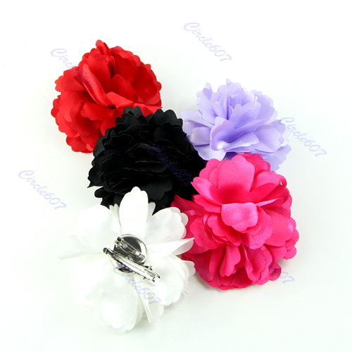 10pcs/lot Fashion Lady Satin Peony Flower Hair Clips Brooch Girl  Hair Accessories New Wholesale(China (Mainland))