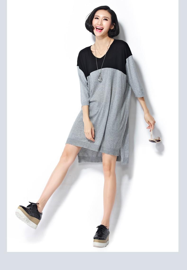 2015 Женщины's Plus Размер Clothes Autumn Повседневный Pure Цвет Повседневный Simple Gray Модный Длинный свитер for Женщины(R.Melody SY0040)