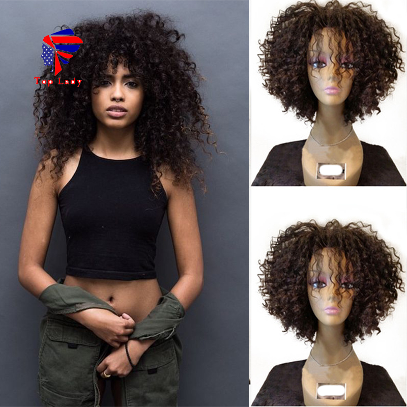 Здесь можно купить  7A Cheap Virgin Indian Glueless Full Lace Short Human Hair Wigs With Baby Hair Short Kinky Curly Lace Front Wig For Black Women  Волосы и аксессуары