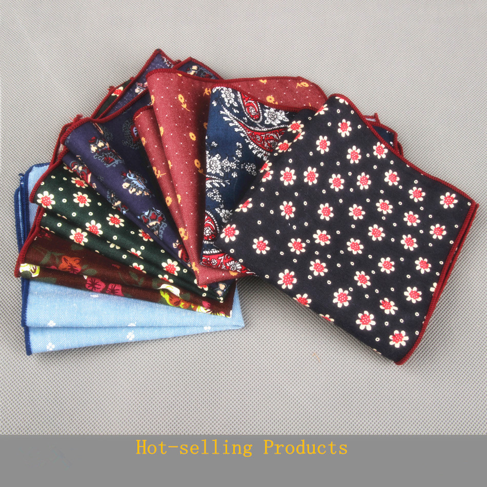 2015 Brand Casual Men's 100% Cotton Handkerchiefs Woven Floral Pocket Square Male Wedding Party Handkerchief Towels Hanky(China (Mainland))