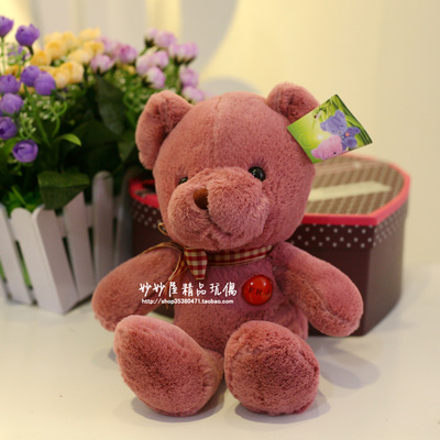 Stuffed animal 25 cm dark pink teddy bear plush toy soft doll gift w1759(China (Mainland))
