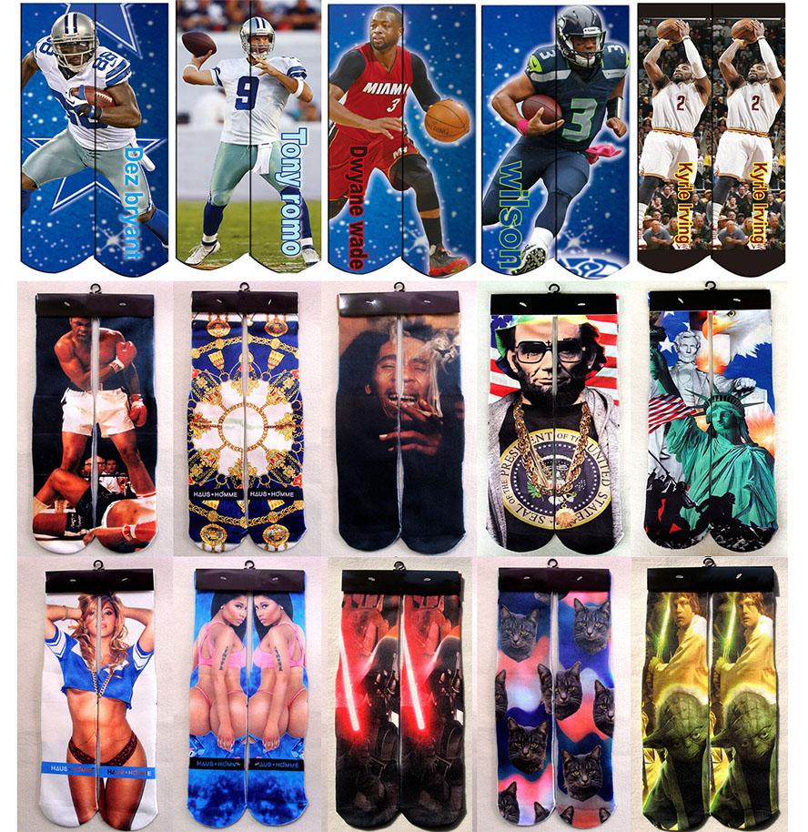 USA National Football Star 3D Printed Basketball Socks Cotton Terry Street Men Socks Sport Star Wars Ali-Haj Odd Future Men Sox(China (Mainland))