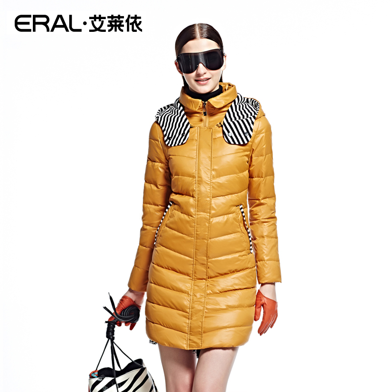 ERAL 2014 New Arrival Winter Women Coat Striped Patchwork Long Sleeve Thick Slim Casual Long Jacket With a Hood ERAL6023B