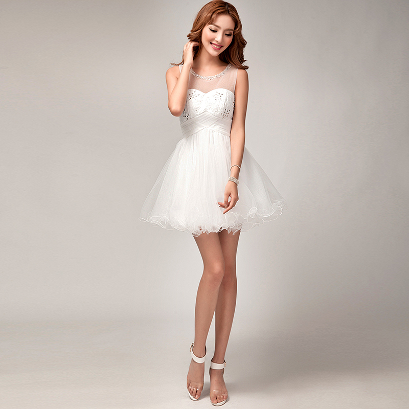 Elegant bridesmaid dress women white lace wedding party for Classy short wedding dresses