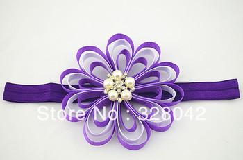 EMS free princess girl 4''Grosgrain Ribbon flowers headbands wedding satin ribbon flower hairband Hair Accessories 100pcs/lot