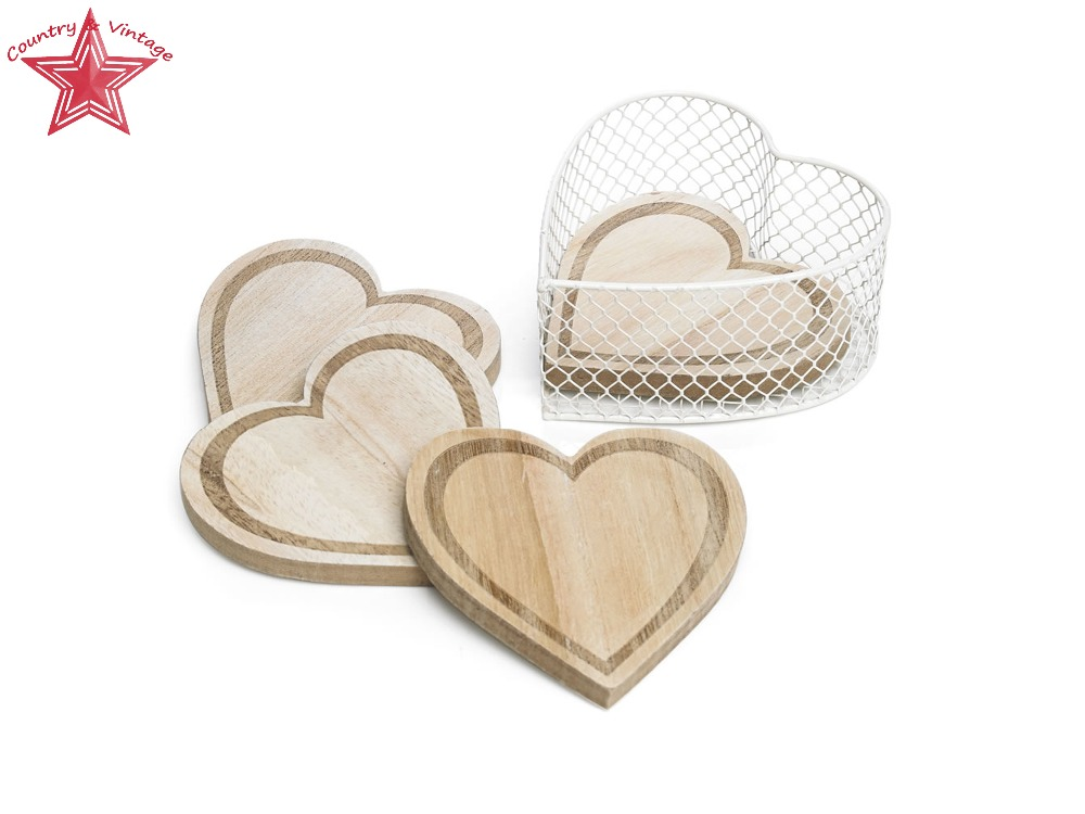 Carved Heart Shaped Wood Natural Bark Coaster Set, 4 x Coasters In A Wire Heart Shaped Wire Basket Tied Off With A White Ribbon.(China (Mainland))