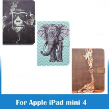 Cool Monkey Elephant Giraffe Slim PU Leather Stand Case Smart Cover for Apple iPad Mini 4 7.9 inch Tablet with Auto Sleep/Wake(China (Mainland))