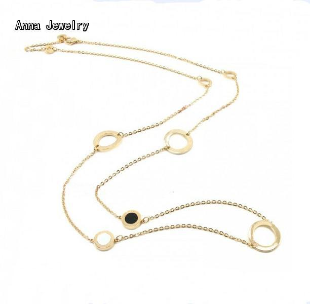 New Elegant Long Chain Sautoir Necklace,18K Yellow Gold Plated with Shell,Classic Designer Long LInk Chain Necklace For Women(China (Mainland))