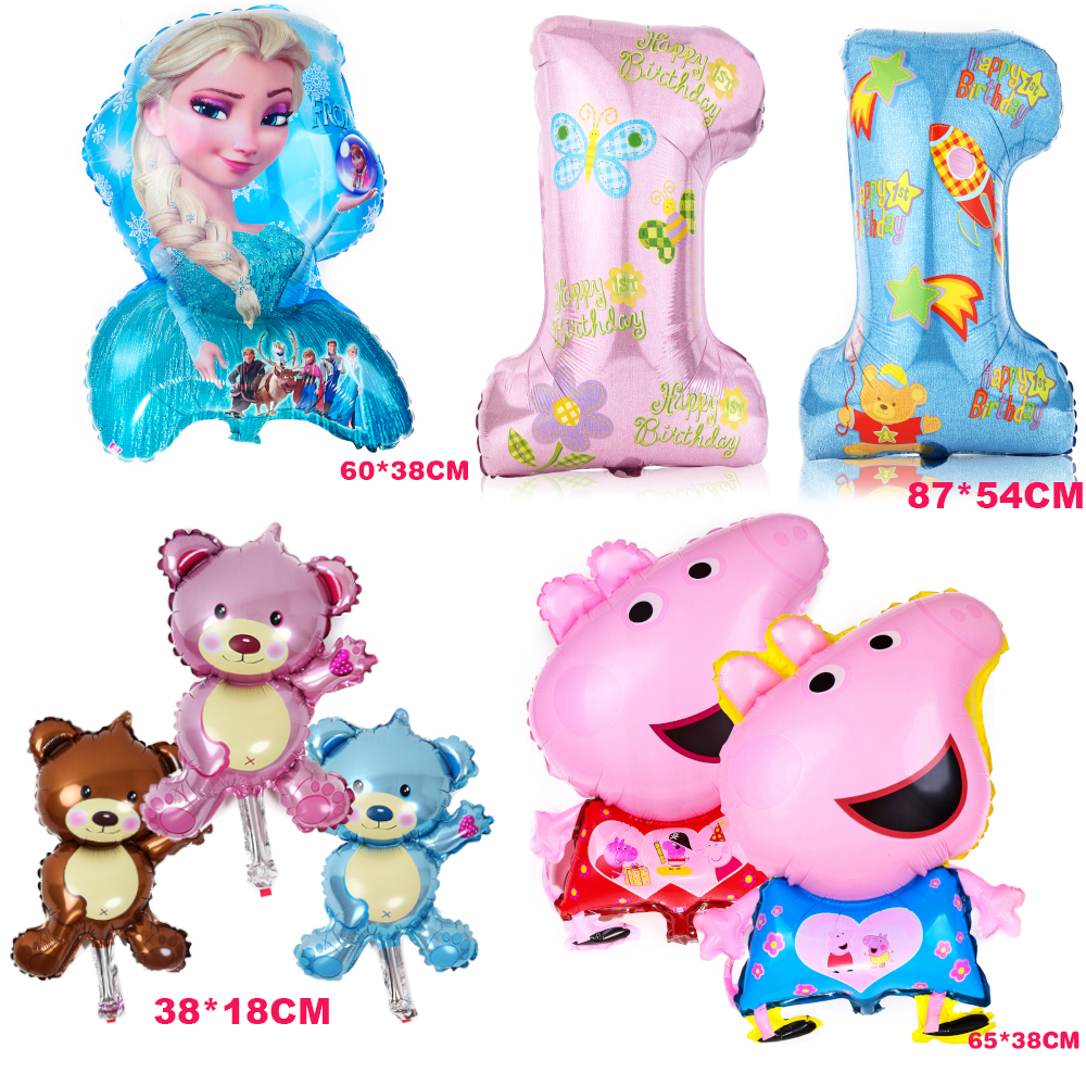 1PCS/lot Wholesale 1st birthday Pig Elsa Theme Air Foil Balloons Baby Happy Birthday event Party Supplies Wedding for kids(China (Mainland))