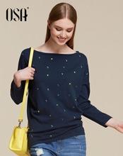 OSA 2015 Autumn Casual stars top pullover Winter women damen sweaters Full Sleeve Slash neck Solid slim knitwear femme SH512065(China (Mainland))