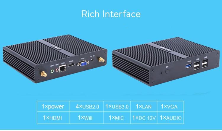 [5gen Broadwell i3 5005U]Gaming PC Mini Computer Nuc i3 4005U Fanless Micro PC Win 10 TV Box WiFi VGA HDMI CE FCC ROHS HTPC 06