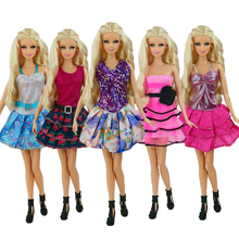 5 Pcs / lot  New Beautiful Handmade Party Clothes Fashion Dress for Noble Barbie Doll Free shipping(China (Mainland))