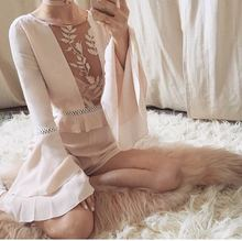 Women Love Dusty Pink Ruffled Waistline Tiered Bell Sleeves Emelia Romper Embroidered Long Sleeves One-Piece Sexy Lace Jumpsuits(China (Mainland))