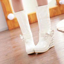 Envío gratis media rodilla botas de plataforma de cuña mujeres moda de invierno la nieve botas calzado Rhinestone arco tamaño del EUR 34-39(China (Mainland))